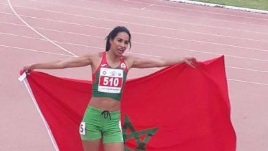 صورة العداءة المغربية لمياء الهبز تفوز  بالميدالية الذهبية في القاهرة